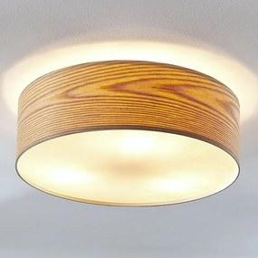 Houten plafondlamp Dominic in ronde vorm - lampen-24