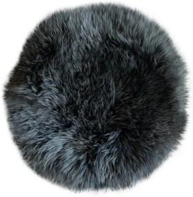 Stoelkussen - schapenvacht rond antraciet - stoelzitting - stoelpad