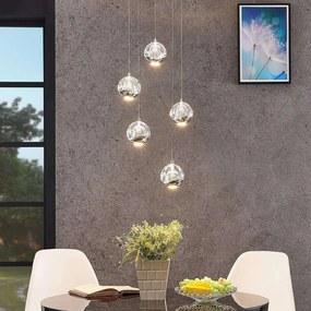 LED hanglamp Hayley, 5 lampjes, rond, chroom