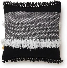 Malagoon Black 'n White Fringe sierkussen 50 x 50 cm