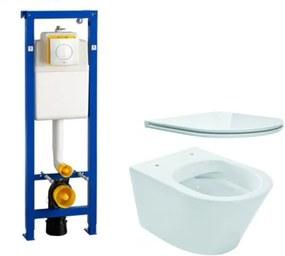 Wiesbaden Vesta toiletset Rimless 52cm inclusief Wisa XS toiletreservoir en flatline met softclose en quickrelease toiletzitting met bedieningsplaat wit