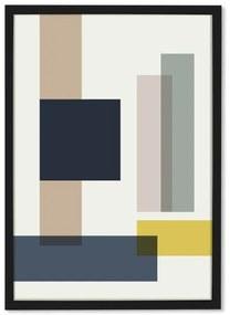 Geometric Rectangles, 50 x 70 Framed, ingelijste print, multi