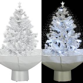 Kerstboom sneeuwend met paraplubasis 75 cm wit