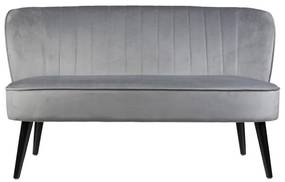 Bankje velvet - grijs - 132x66x74 cm