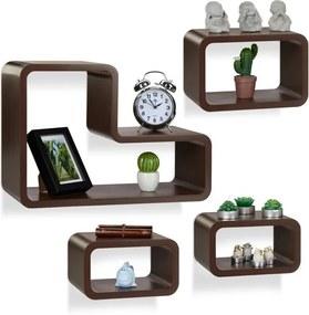 Wandboard set van 4 - wandbox modern - design wandplank - design - woonkamer bruin