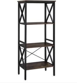 Nancy's Darwin Boekenkast Industrieel - Boekenstandaard - Ladderkast 4 Laags - Bruin/Zwart - 56 x 34 x 131 cm