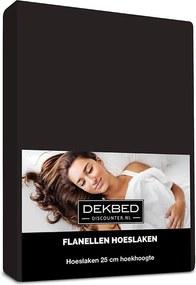 Dekbed-Discounter Verwarmend Flanel Hoeslaken - Zwart 80/90 x 200 cm