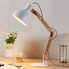 Houten bureaulamp met witte kap Shivanja - lampen-24