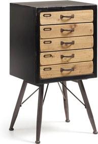 Kave Home Refe Zwarte Vintage Ladekast - 46x38x85cm.