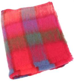 Plaid brushed mohair: roze, rood, groen, blauw
