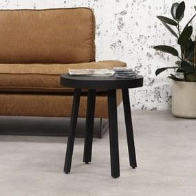 Dimehouse | Bijzettafel ster lengte 45 cm x breedte 45 cm x hoogte 52 cm zwart bijzettafels teakhout, staal meubels tafels | NADUVI outlet