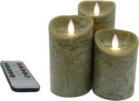 3 stuks Kaarsen remote set/3 olijfgr