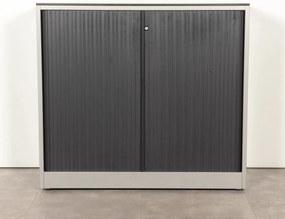 Roldeurkast, aluminium/zwart, 109 x 120 cm, incl. 2 legborden