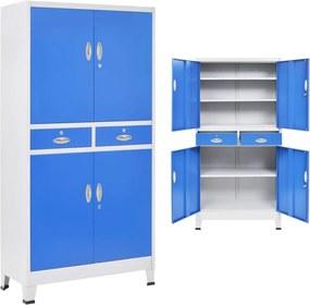 Kantoorkast met 4 deuren 90x40x180 cm metaal grijs en blauw