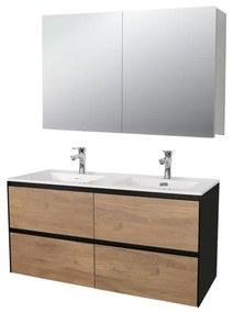 Adema Industrial badmeubel 120x45.5cm met spiegelkast hout/zwart