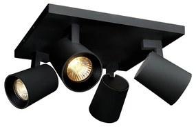 BWS Opbouwspot 4-Lichts Merga 4 11.2x24x24 cm 290Lm 4W 40° Zwart
