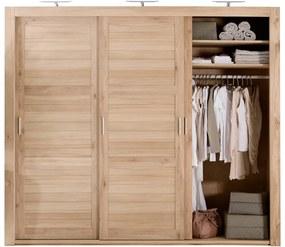 Goossens Excellent Kledingkast Duo Stripe, 248 cm breed, 223 cm hoog, 3 x 3 houtpaneel schuifdeuren