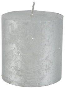 Kaars rustiek - zilver - 7x7 cm