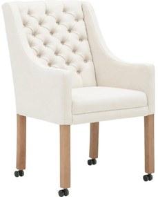 Goossens Eetkamerstoel Pearl wit stof met arm en met wielen, stijlvol landelijk