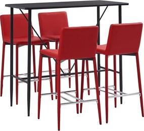 5-delige Barset kunstleer rood