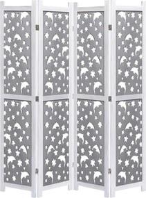 Kamerscherm met 4 panelen 140x165 cm massief hout grijs