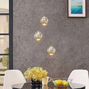 LED hanglamp Hayley met glasbol, 3 lampjes, goud