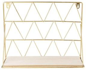 Wandrek met plank - goud - 30x11x22 cm