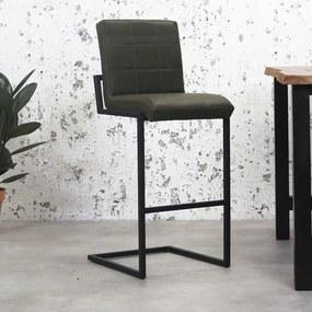 Dimehouse | Barkruk Hoxton breedte 50 cm x diepte 43 cm x hoogte 78 cm groen barkrukken kunstleer, metaal meubels poefs | NADUVI outlet