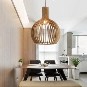 Lille Houten Design Hanglamp, E27 Fitting, ⌀45x54cm, Naturel