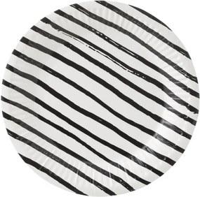 Papieren Bordjes - 18 Cm - Zwart/wit Gestreept - 10 Stuks (zwart/wit)