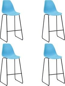 Barstoelen 4 st kunststof blauw