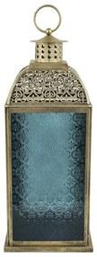Lantaarn Marrakesh - blauw - 12x12x30 cm