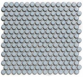 The Mosaic Factory Venice Pennyround mozaïektegel 1.9x0.5cm wandtegel voor binnen en buiten Rond Keramiek Grijs Blauw met rand VKN450