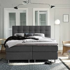 DreamHouse Bedding Boxspringset Colorado 140 x 200 cm, Kleur: Antraciet, Topperkeuze: Standaard Comfort Topper, Montage: Exclusief Montage