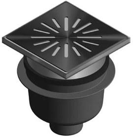 Aquaberg kunststof put/opzetstuk met onderaansluiting 75mm RVS rooster verstelbaar 20x20cm met PPC emmer reukslot 60mm 6320
