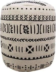 HSM Collection poef Vejen - zwart/wit - 35x42x35 cm - Leen Bakker
