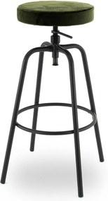24Designs Ryan Hoge Verstelbare Kruk - Olijfgroen Fluweel - Zwart Metalen Frame