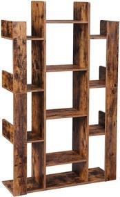 Nancy's Boekenkast met 13 Vakken - Boekenstandaard - Boekensteun - Vrijstaande Kast - Hout - Industrieel - Bruin - 86 x 25 x 140 cm