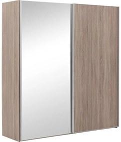 Goossens Kledingkast Verto, 200 cm breed, 217 cm hoog, 1x schuifdeur rechts en 1x spiegelschuifdeur links
