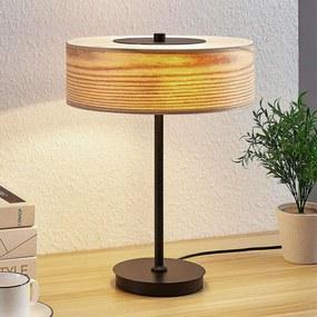 Houten tafellamp Dominic in ronde vorm