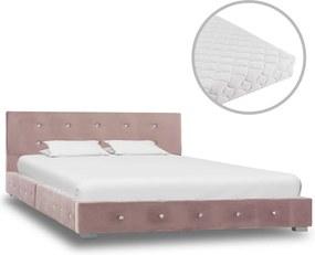 Bed met matras fluweel roze 120x200 cm