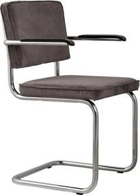 Zuiver Ridge Rib stoel met armleuningen grijs set van 2
