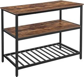 Nancy's Gordons Keukenkast - Keukenrek - Keukenkasten - Staand Rek met Planken - Industrieel - Bruin/Zwart - 120 x 60 x 90 cm