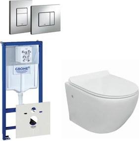 Go compact Rimfree toiletset bestaande uit Grohe inbouwreservoir, met toiletzitting en bedieningsplaat chroom