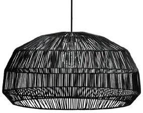 Rotan / Rieten Hanglamp, Handgemaakt, Zwart, ⌀72 cm