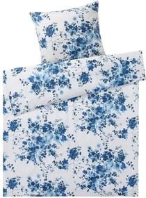 Draaibaar dekbedovertrek 140 x 200 cm Bloemen/wit/blauw