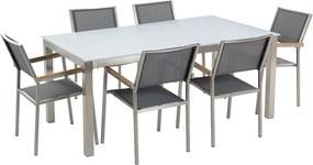 Tuinset glas/RVS wit enkel tafelblad 180 x 90 cm met 6 stoelen grijs GROSSETO