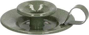 Kaarsenstandaard met oor, emaille, olijfgroen gespikkeld, Ø 12,5 cm