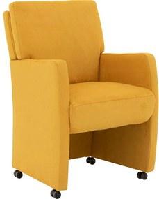 Goossens Eetkamerstoel Leen geel microvezel met arm en met wielen, stijlvol landelijk