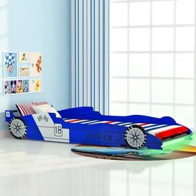 Kinderbed raceauto met LED-verlichting 90x200 cm blauw